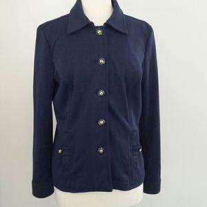 Charter Club Navy Ponte Knit Jacket, Size L